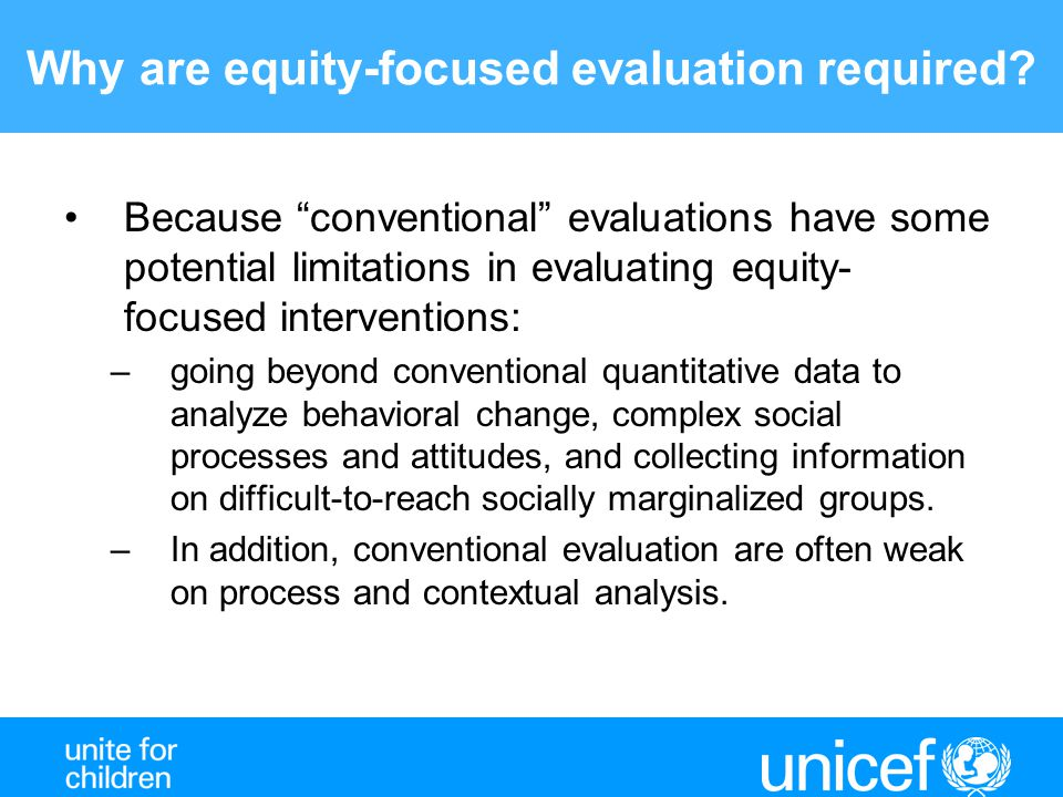 Why are equity-focused evaluation required