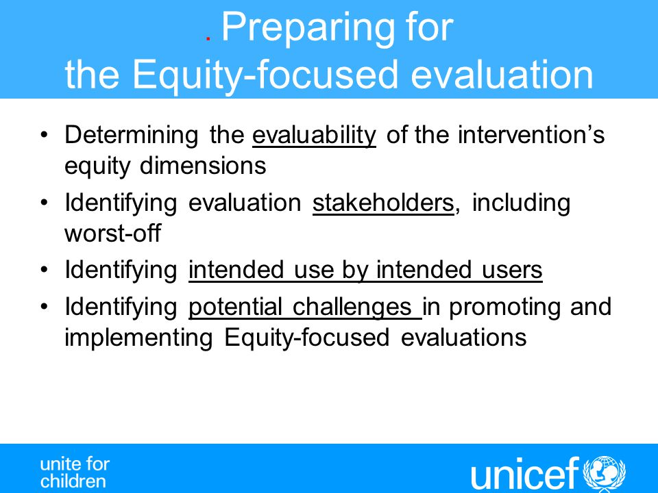 . Preparing for the Equity-focused evaluation