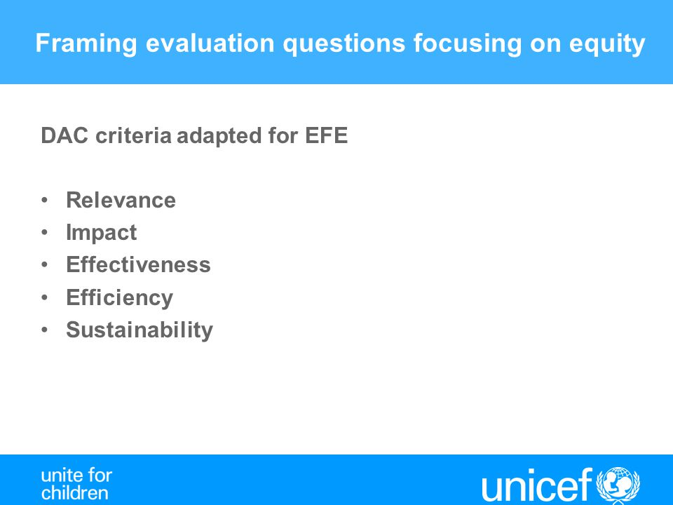 Framing evaluation questions focusing on equity