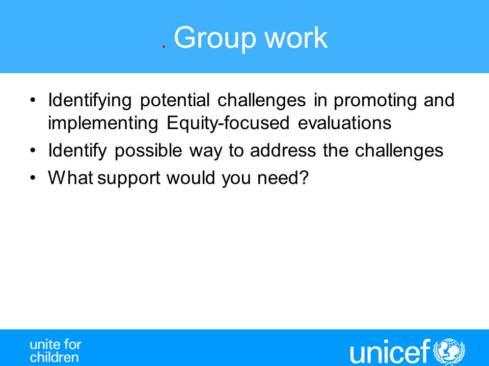 . Group work Identifying potential challenges in promoting and implementing Equity-focused evaluations.