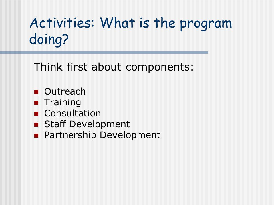 Activities: What is the program doing