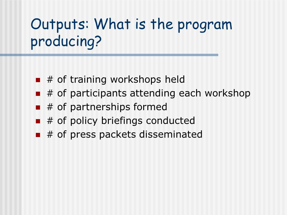 Outputs: What is the program producing