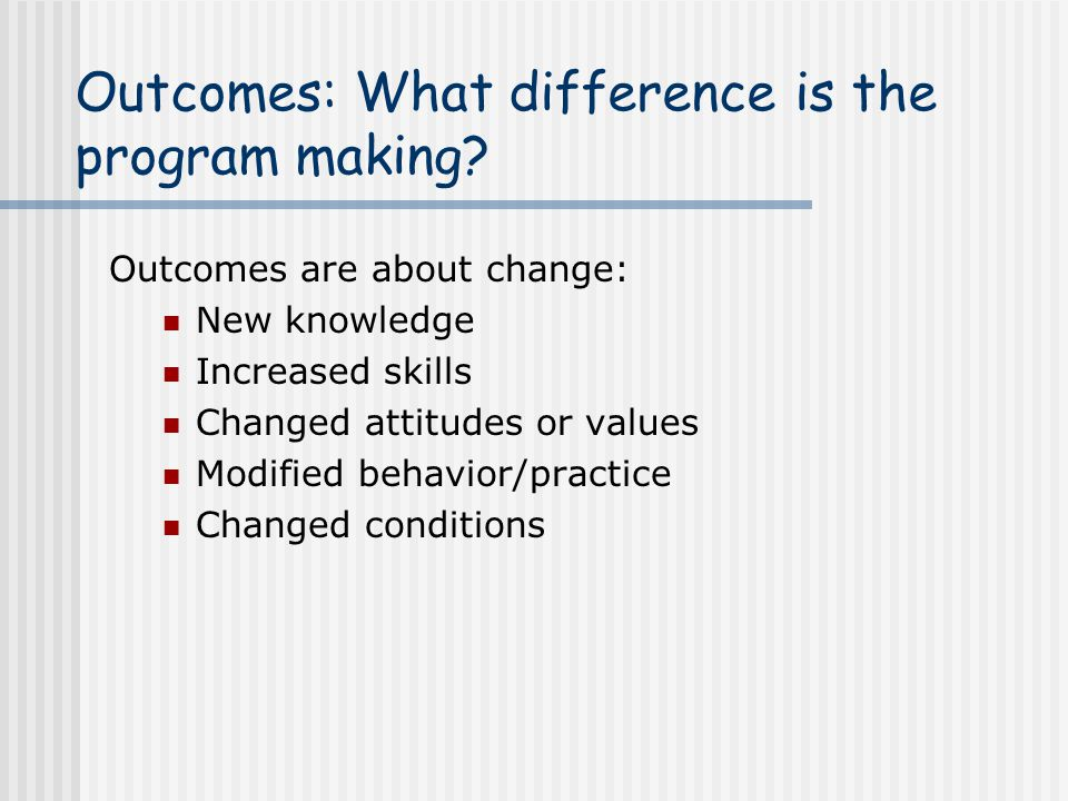 Outcomes: What difference is the program making