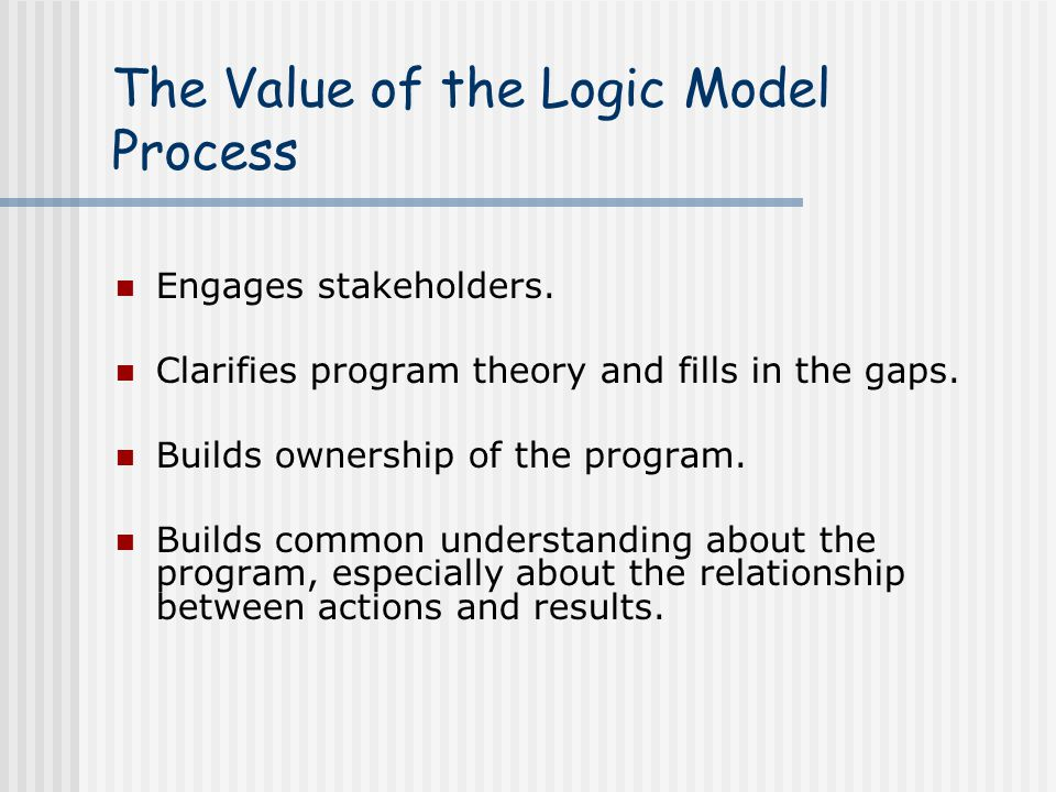 The Value of the Logic Model Process