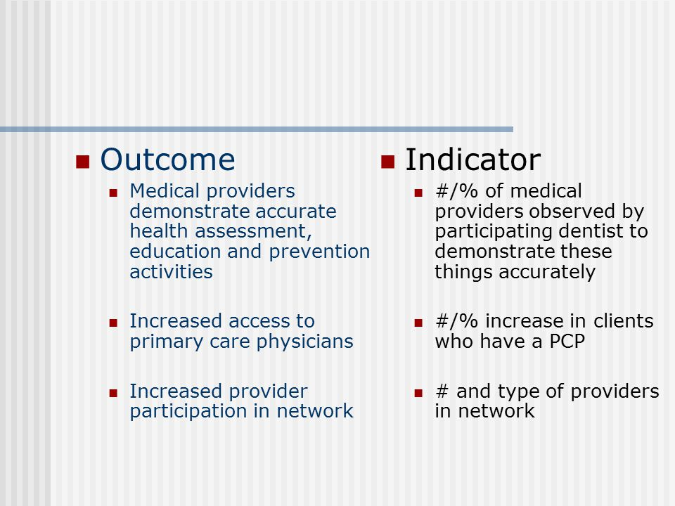 Outcome Medical providers demonstrate accurate health assessment, education and prevention activities.