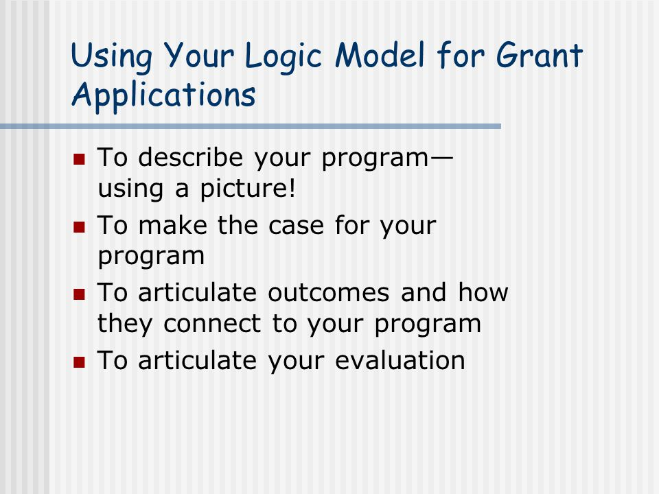 Using Your Logic Model for Grant Applications