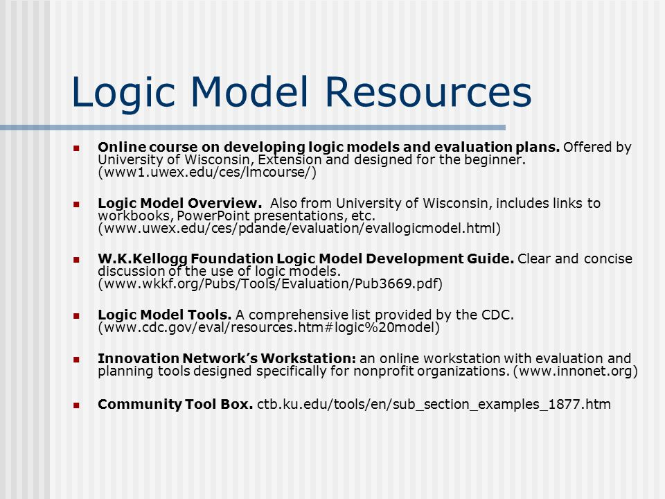Logic Model Resources