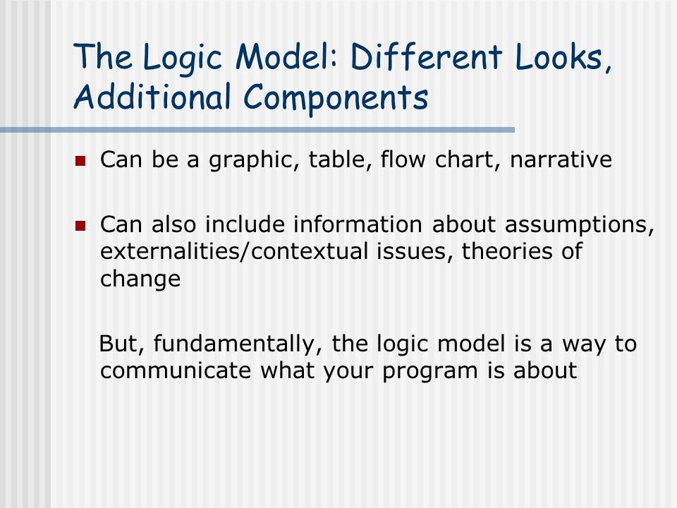 The Logic Model: Different Looks, Additional Components