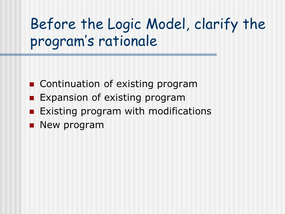 Before the Logic Model, clarify the program's rationale