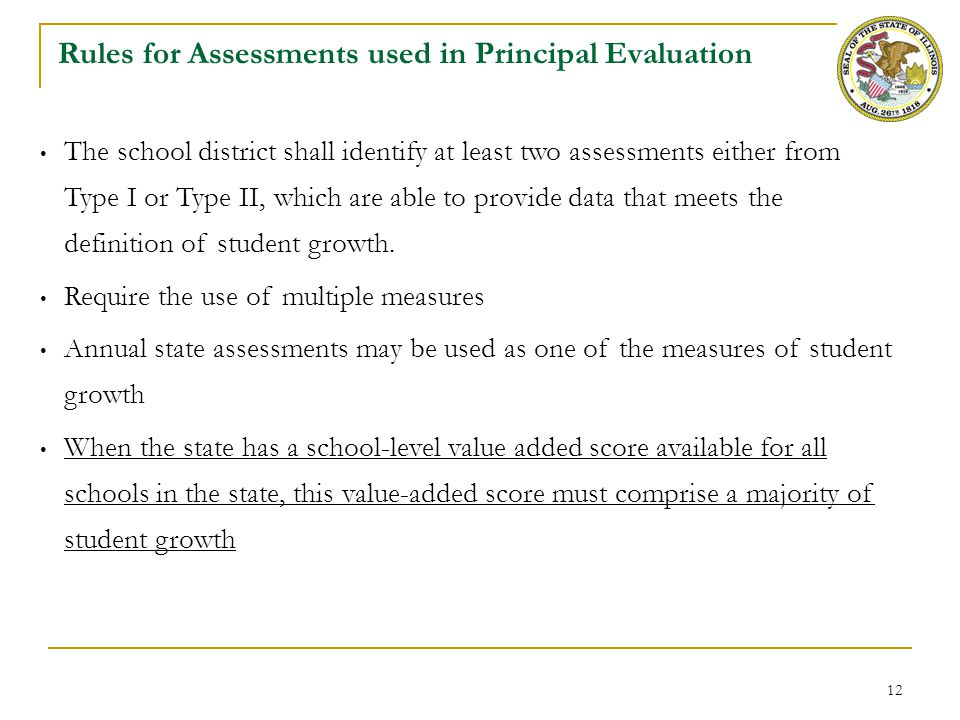 Rules for Assessments Used in Principal Evaluation