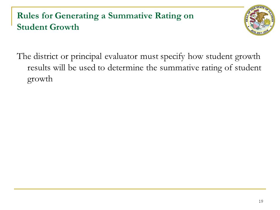 Rules for Student Growth for Assistant Principal Evaluation