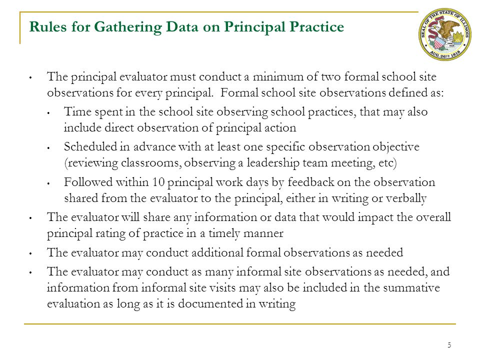 Rules for Gathering Data on Principal Practice (cont.)