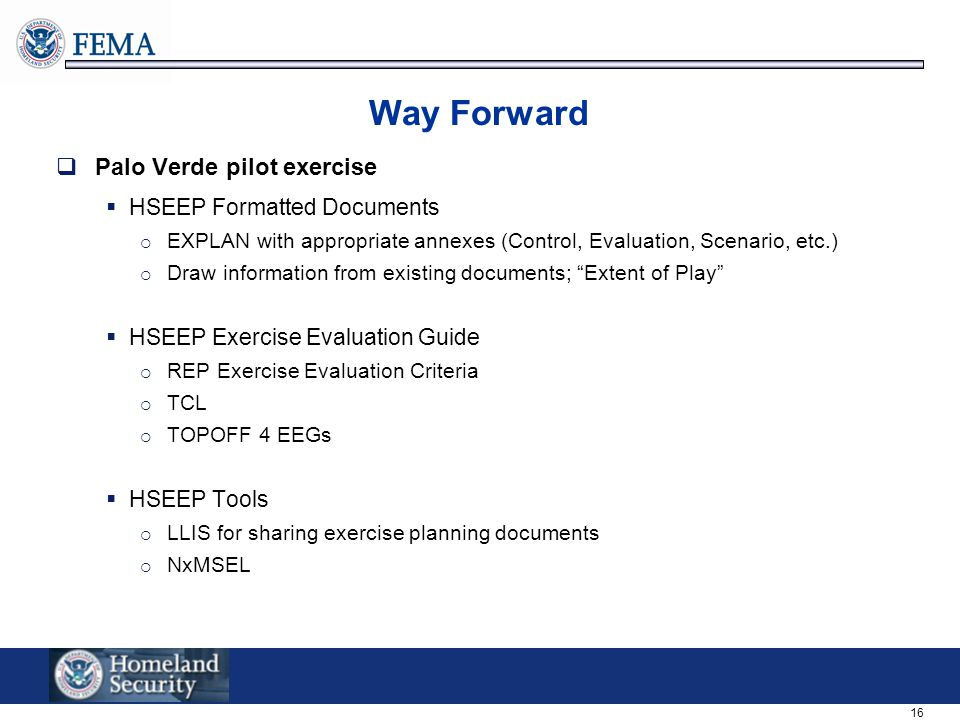 Way Forward Palo Verde pilot exercise HSEEP Formatted Documents