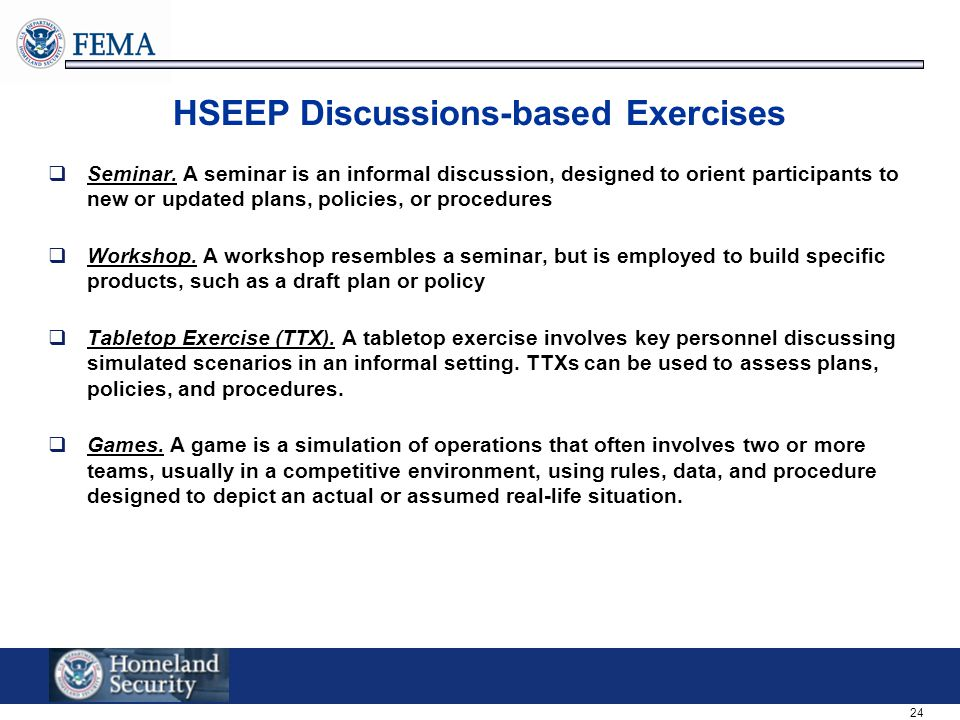 HSEEP Discussions-based Exercises
