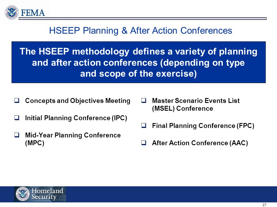 HSEEP Planning & After Action Conferences