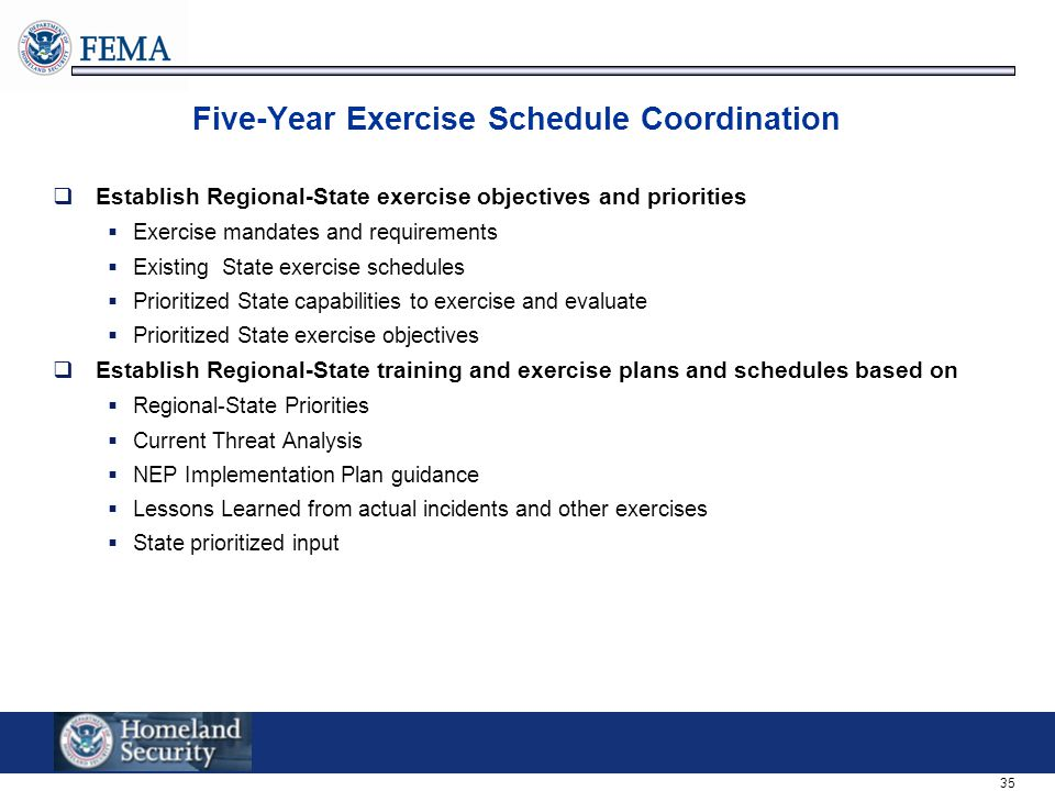 Five-Year Exercise Schedule Coordination