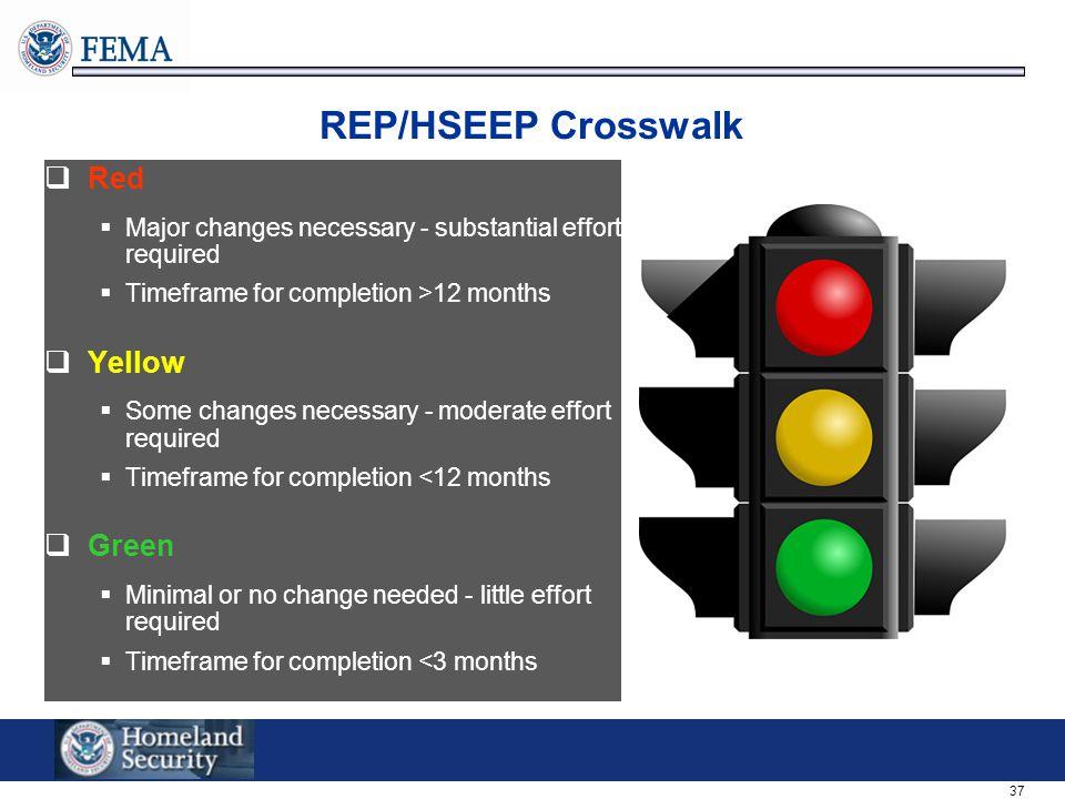 REP/HSEEP Crosswalk Red Yellow Green