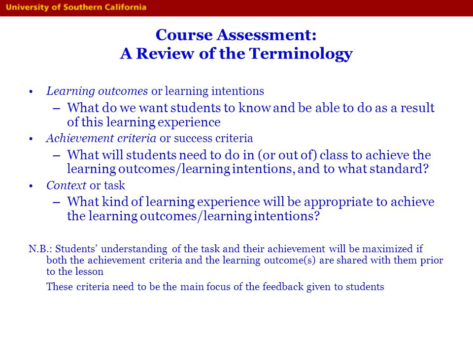 Course Assessment: A Review of the Terminology