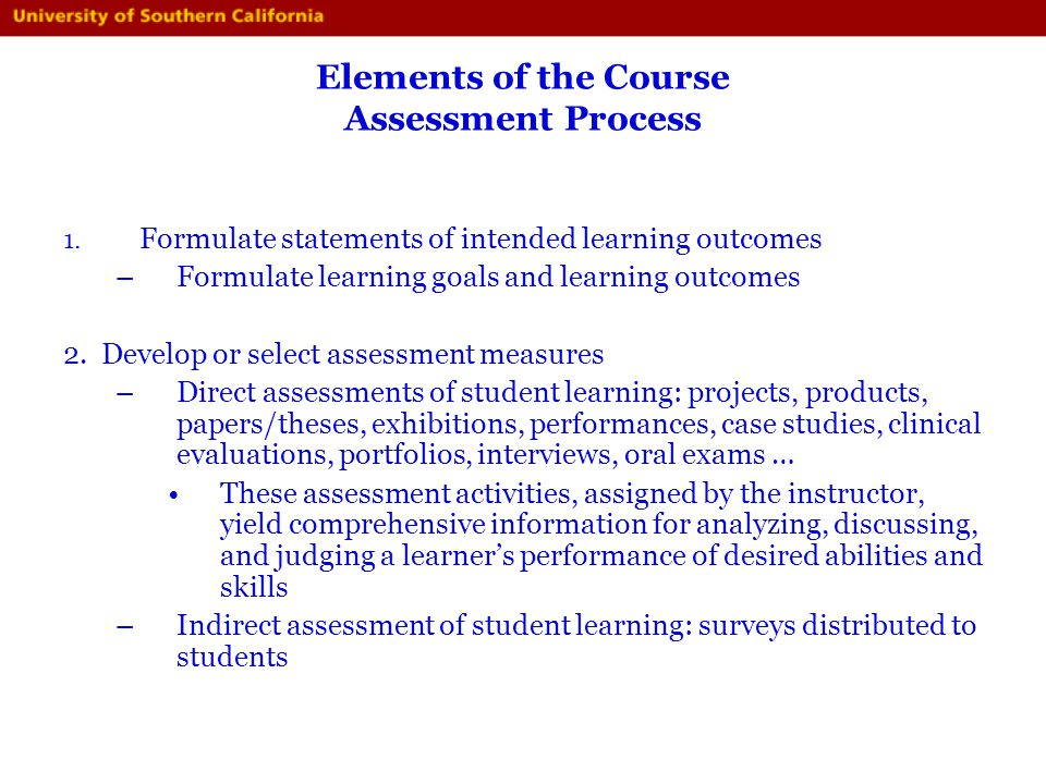 Elements of the Course Assessment Process