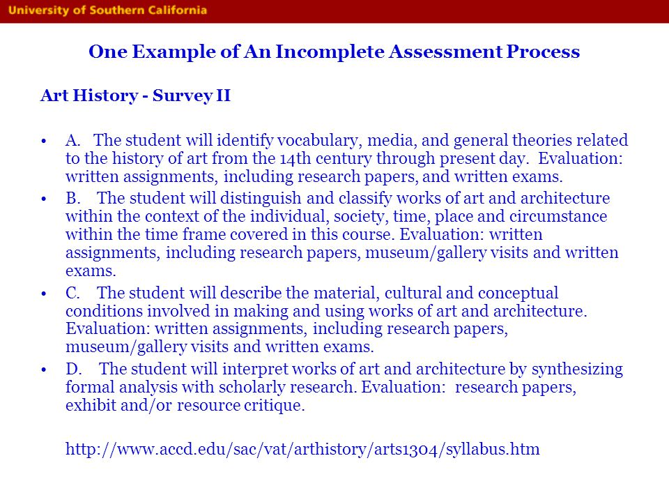 One Example of An Incomplete Assessment Process