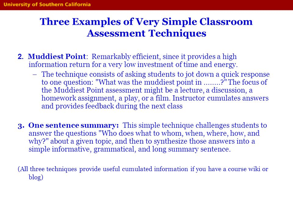 Three Examples of Very Simple Classroom Assessment Techniques