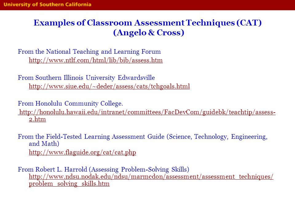 Examples of Classroom Assessment Techniques (CAT) (Angelo & Cross)