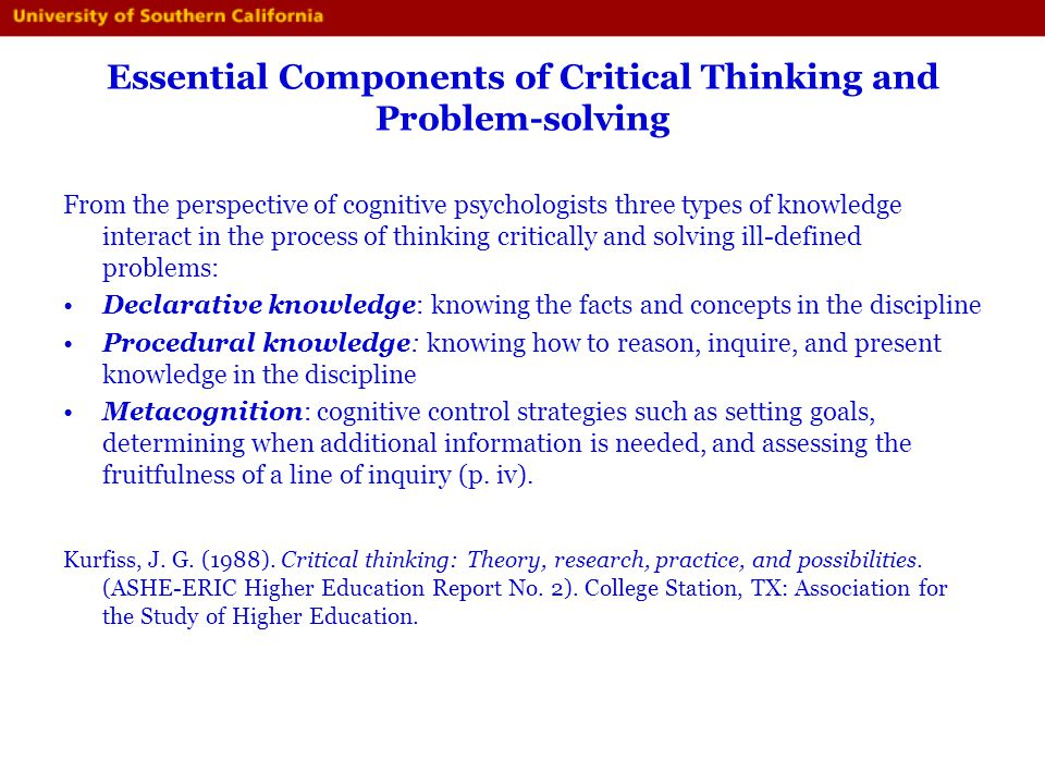 8 components of critical thinking Critical thinking is the process of independently analyzing, synthesizing, and evaluating information as a guide to behavior and beliefs.