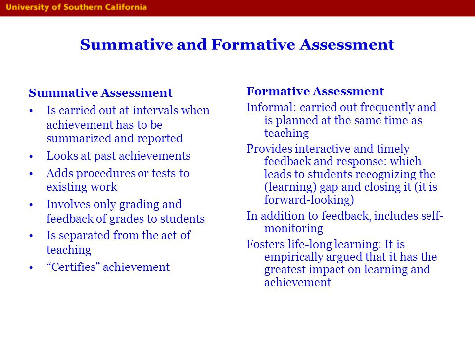 Summative and Formative Assessment
