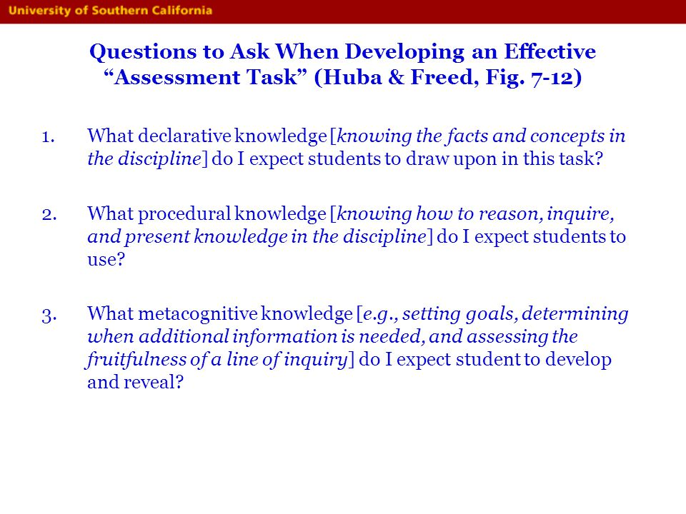 Questions to Ask When Developing an Effective Assessment Task (Huba & Freed, Fig. 7-12)