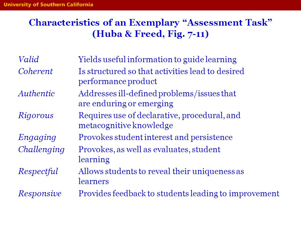 Characteristics of an Exemplary Assessment Task (Huba & Freed, Fig
