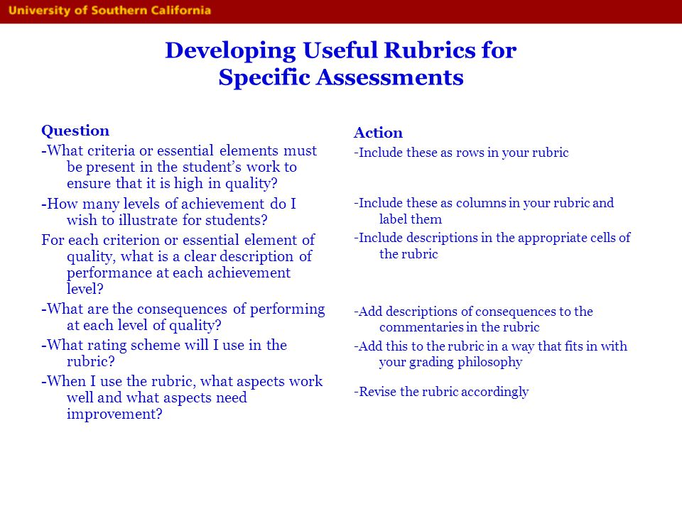 Developing Useful Rubrics for Specific Assessments