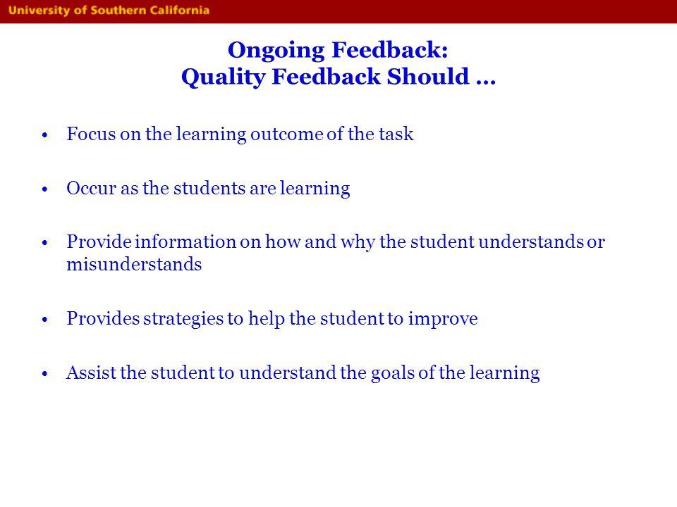 Ongoing Feedback: Quality Feedback Should …