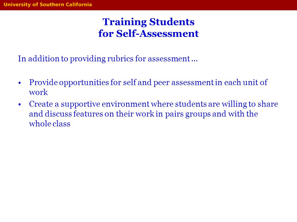 Training Students for Self-Assessment