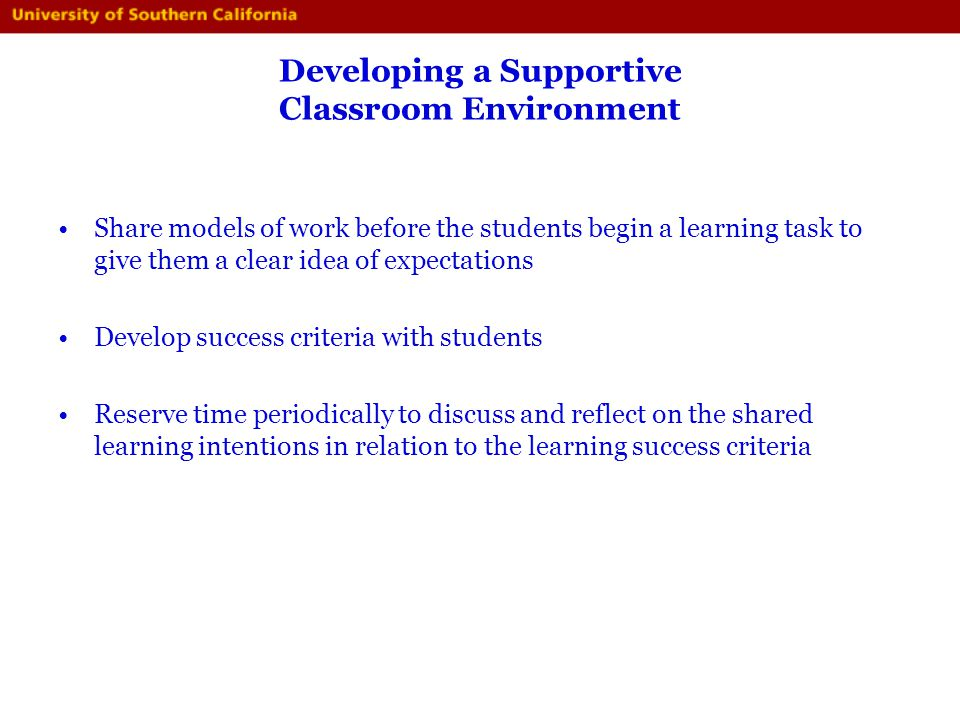 Developing a Supportive Classroom Environment
