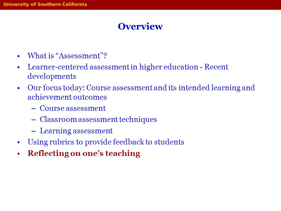 Overview What is Assessment