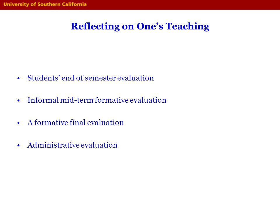 Reflecting on One's Teaching