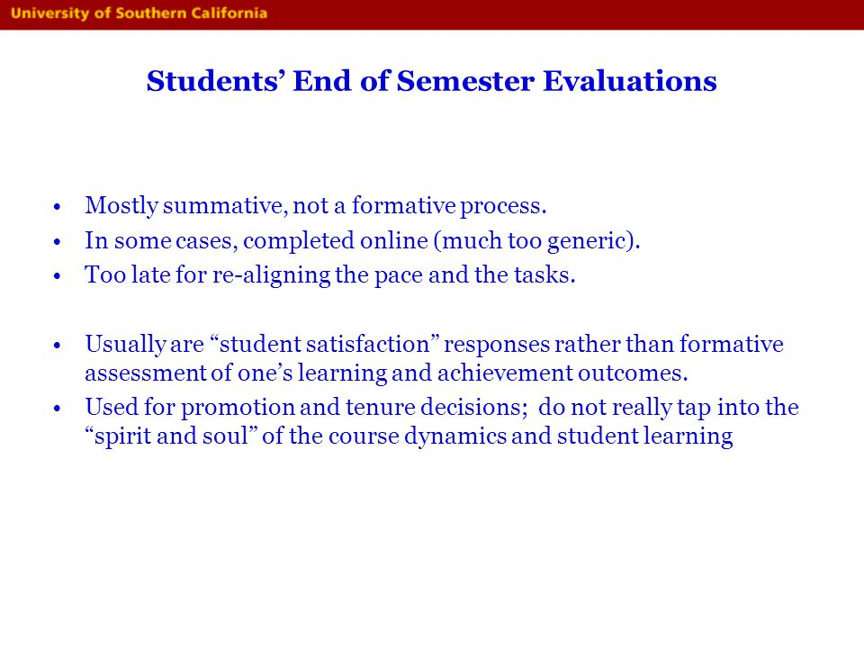 Students' End of Semester Evaluations