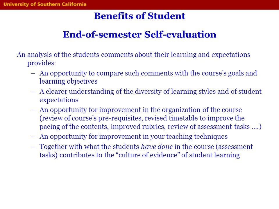 Benefits of Student End-of-semester Self-evaluation
