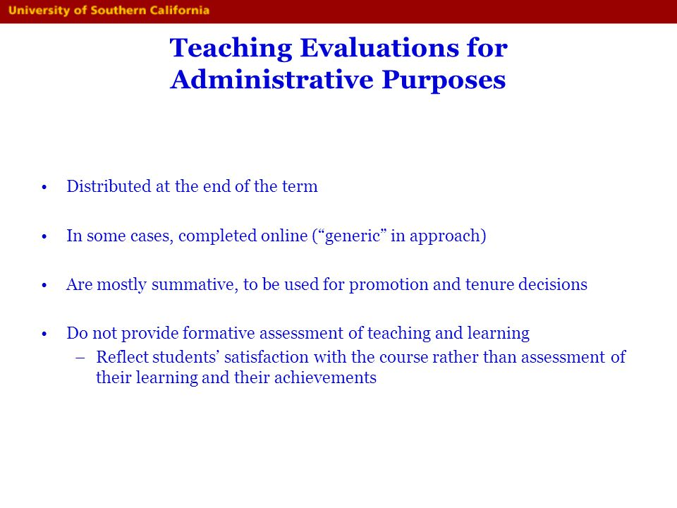 Teaching Evaluations for Administrative Purposes