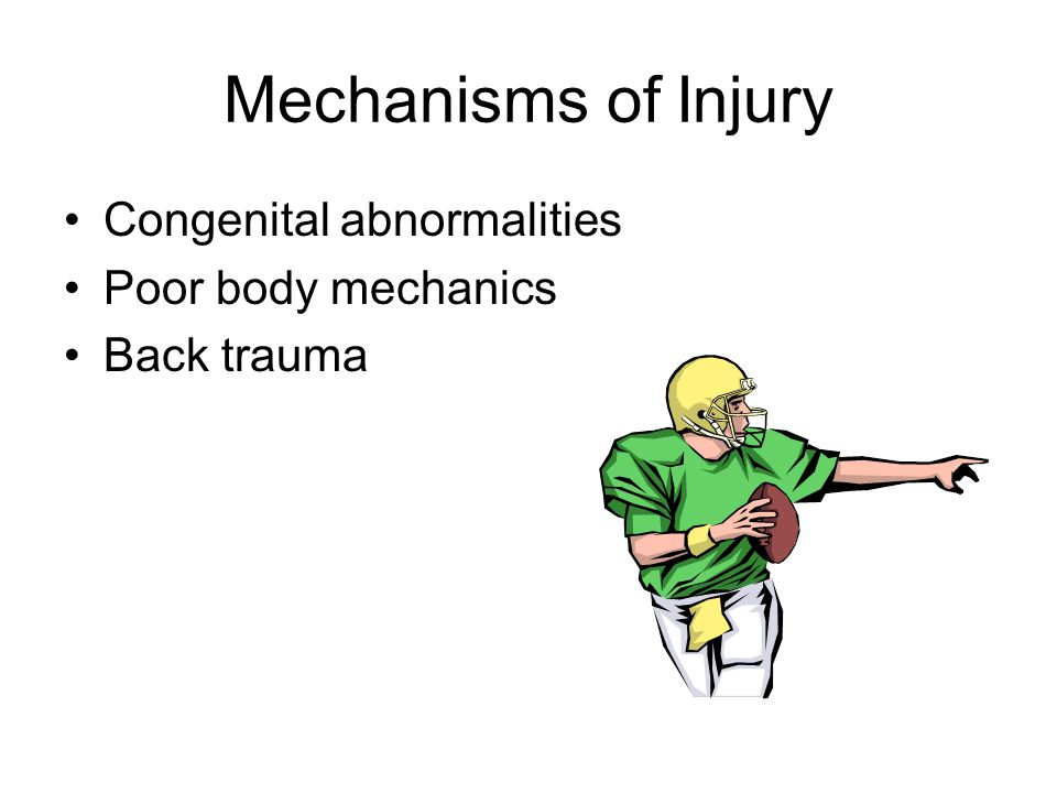 Mechanisms of Injury Congenital abnormalities Poor body mechanics