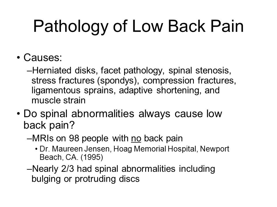 Pathology of Low Back Pain