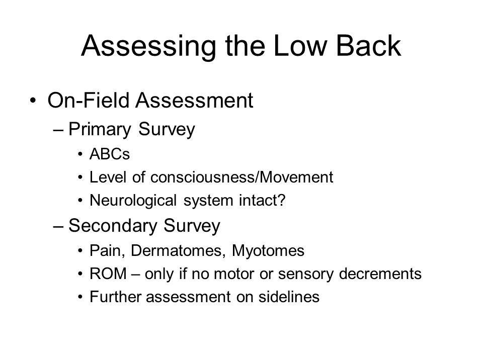 Assessing the Low Back On-Field Assessment Primary Survey