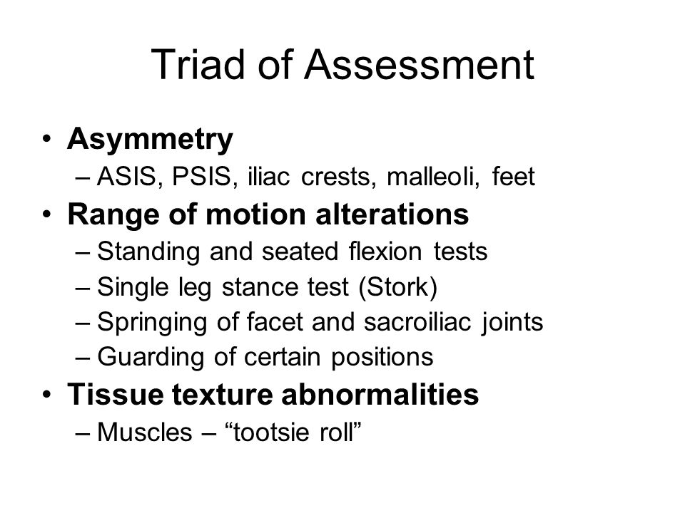 Triad of Assessment Asymmetry Range of motion alterations