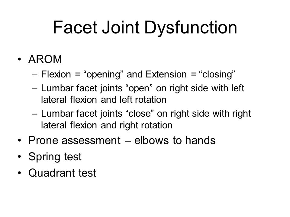 Facet Joint Dysfunction