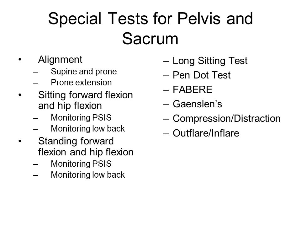 Special Tests for Pelvis and Sacrum