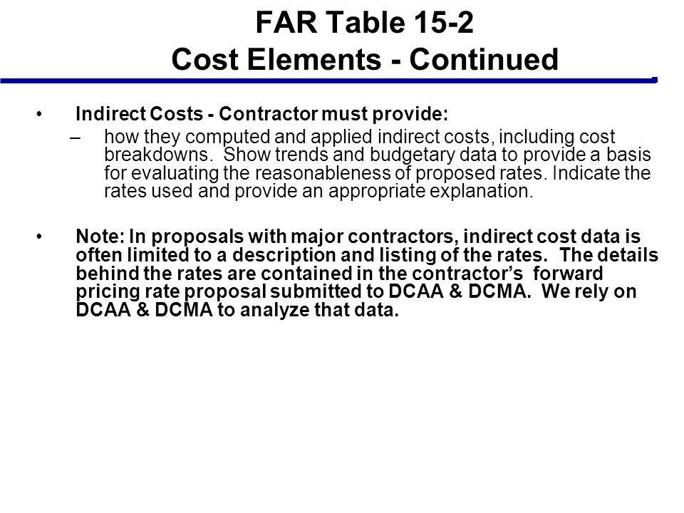 FAR Table 15-2 Cost Elements - Continued