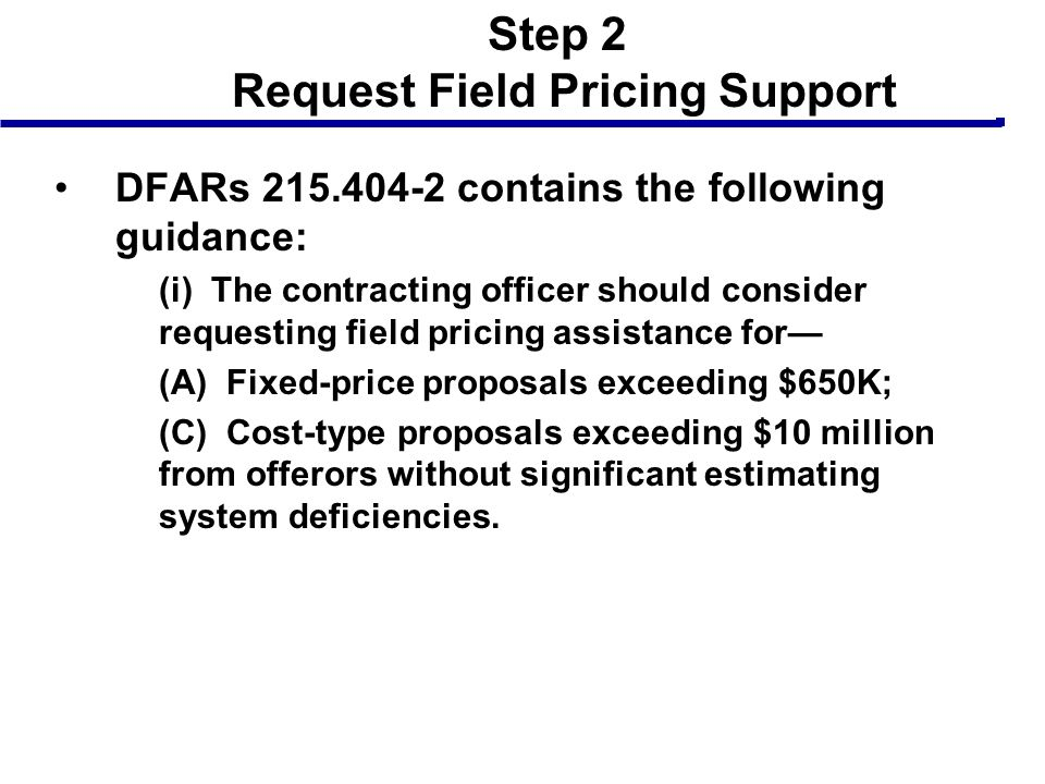 Step 2 Request Field Pricing Support
