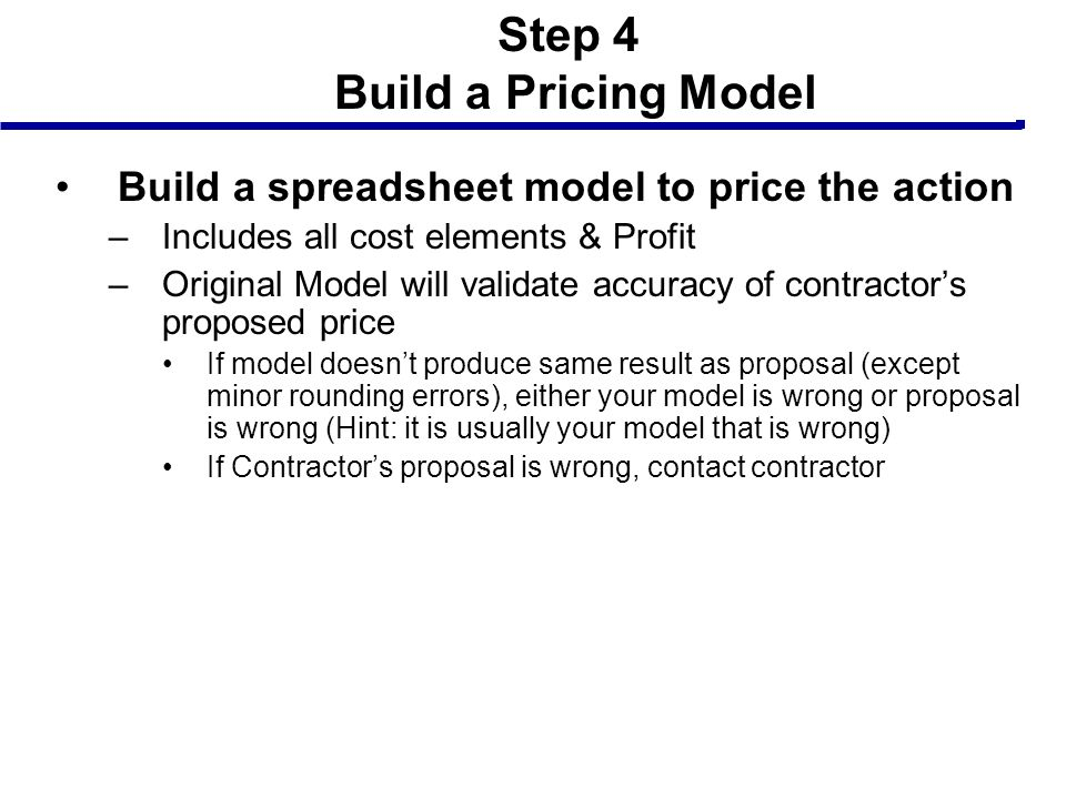 Step 4 Build a Pricing Model