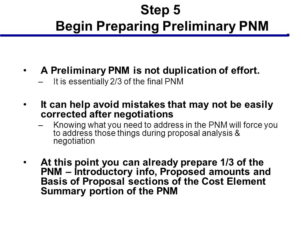 Step 5 Begin Preparing Preliminary PNM