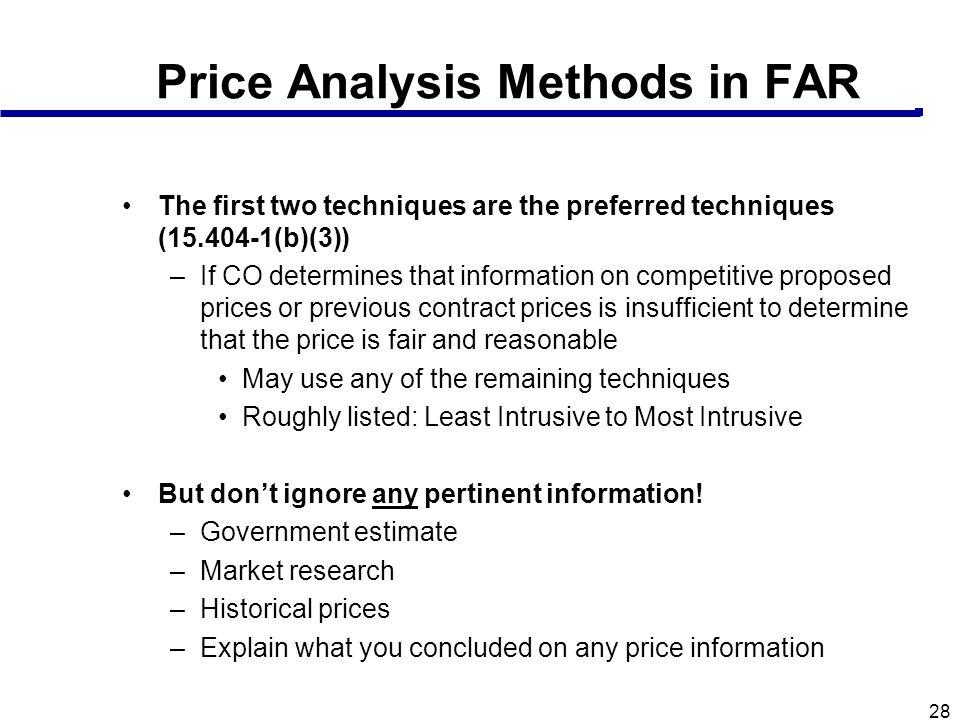 Price Analysis Methods in FAR
